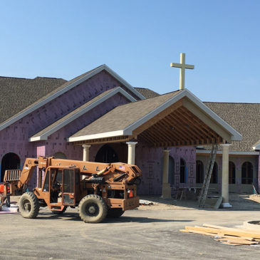 Divine Mercy Funeral Home Crosses Installed